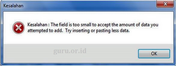 Error Aplikasi Emis : the field is too small