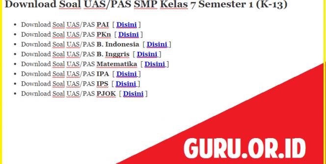 Download Soal PAS SMP Kelas 7 Semester 1 (K-13)