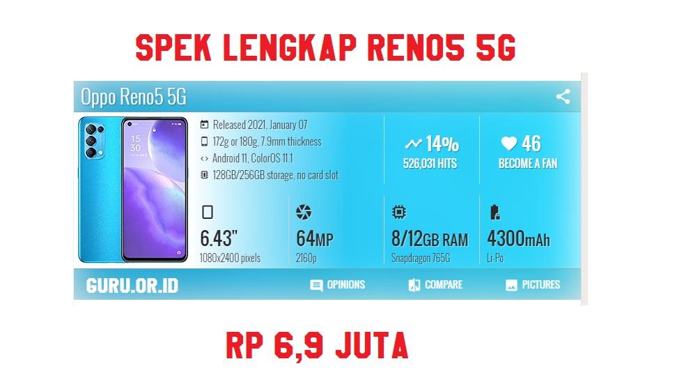 spek lengkap Oppo Reno5 5G